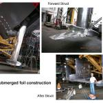 Fully submerged foil construction ship-