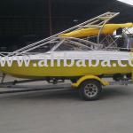 18-Feet Yellow Fiber Speedboat with Mercury Engine-